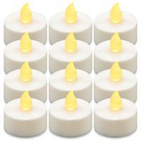 12er Set Teelicht weiß Batteriebetrieben elektrische Teelicht-Kerzen Weihnachten