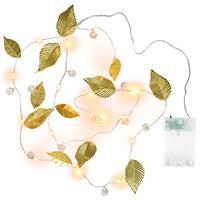 2er Set Lichterkette Perlen + Blätter Gold 20 LED warm weiß Batterie Timer Xmas