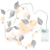 2er Set Lichterkette Perlen + Blätter Silber 20 LED warm weiß Batterie Timer