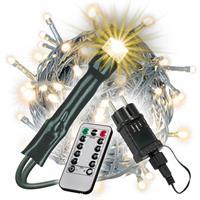 200 LED Lichterkette warmweiß mit 8 Funktionen und Fernbedienung Trafo Timer