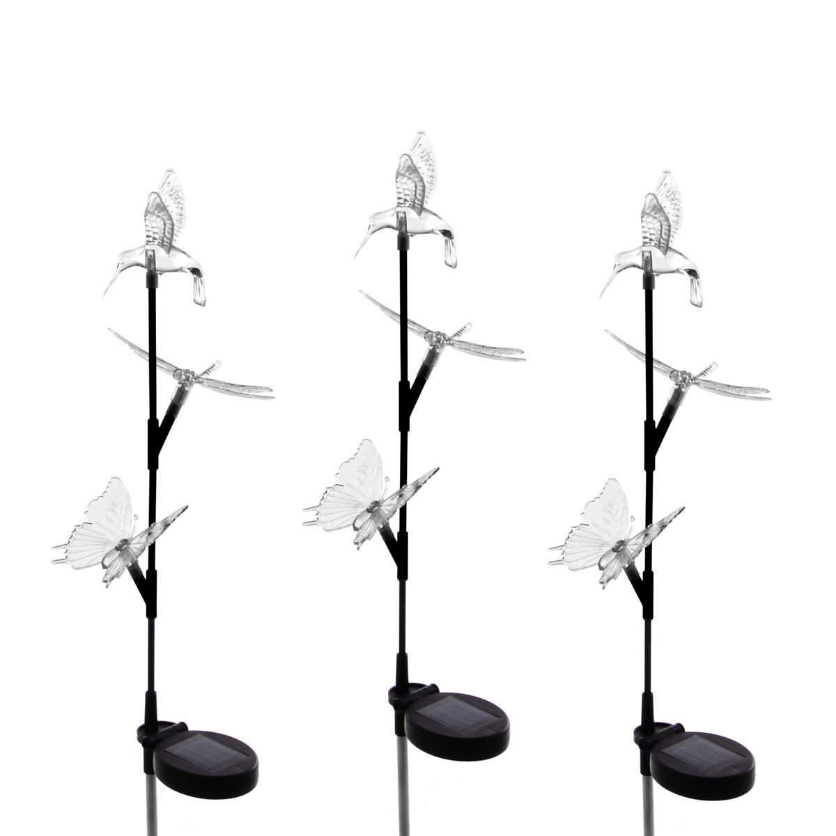 3er Set Solar LED Deko Leuchte mit 3 Tierfiguren