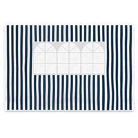2 PE Seitenteile 3m Pavillon marineblau weiß mit Fenster 100 g/m² wasserdicht