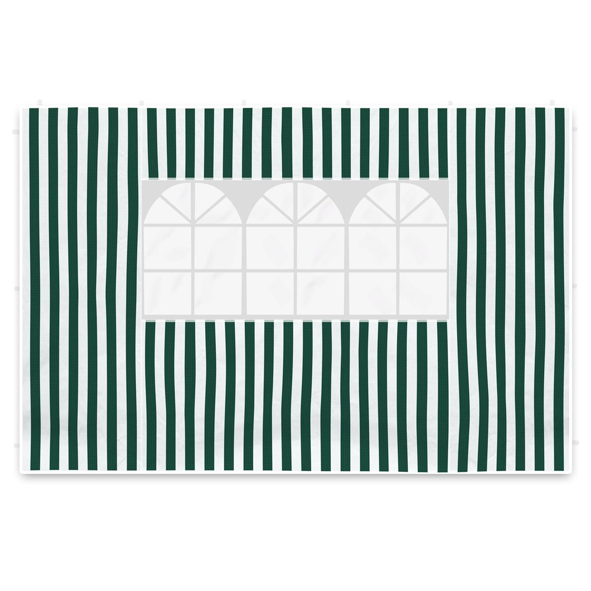 2 Seitenteile 3m für Pavillon Seitenwände grün weiß Fenster 100 g/m² wasserdicht