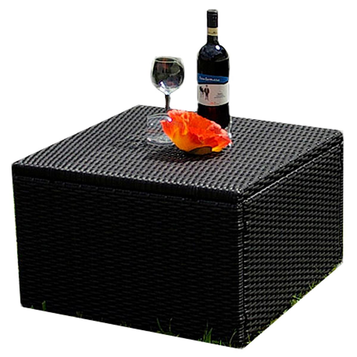 Beistelltisch Hocker Polyrattan hochwertiger Tisch mit Stahlgestell 55x55x63 cm
