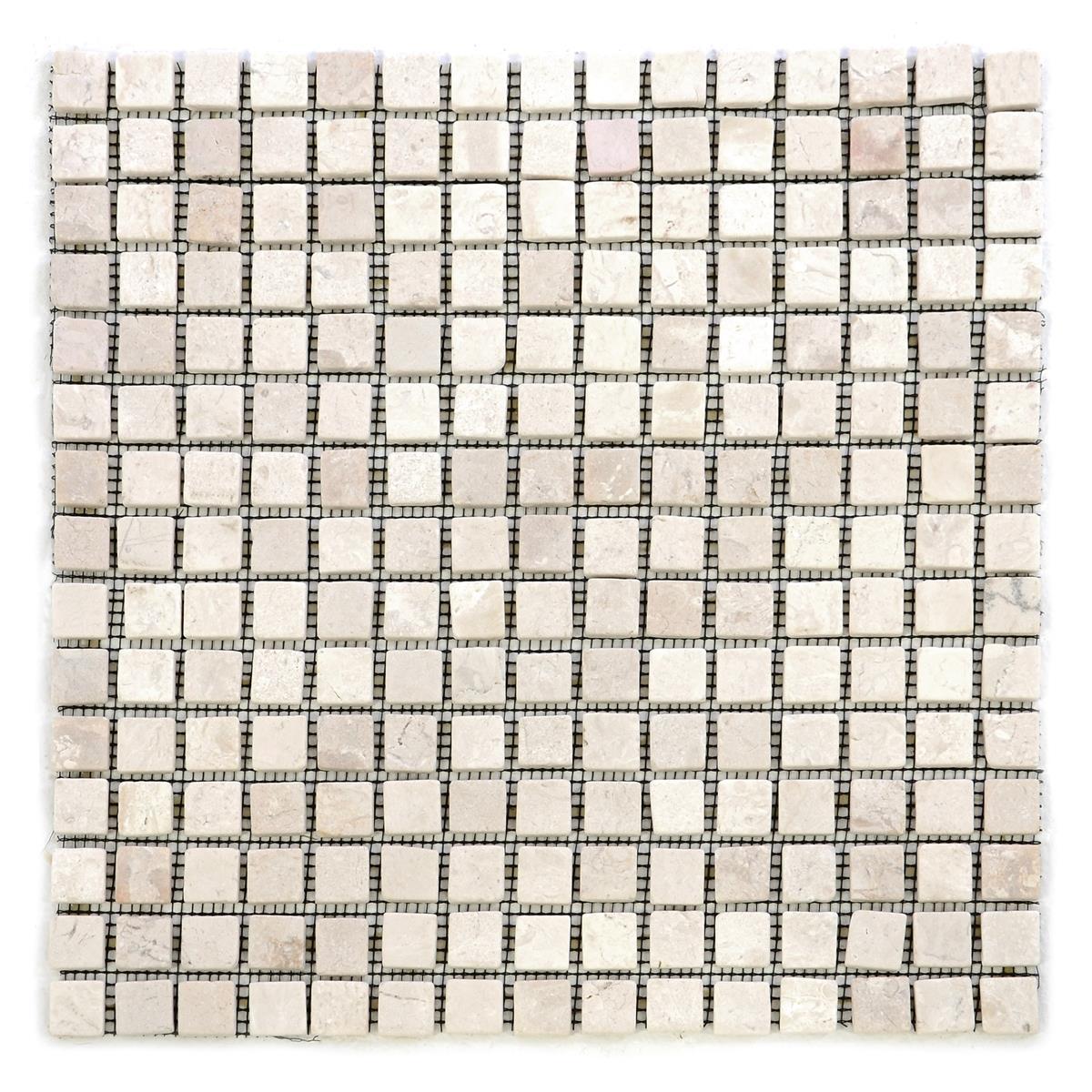 DIVERO 11 Fliesenmatten Naturstein Mosaik aus Marmor creme á 30 x 30 cm