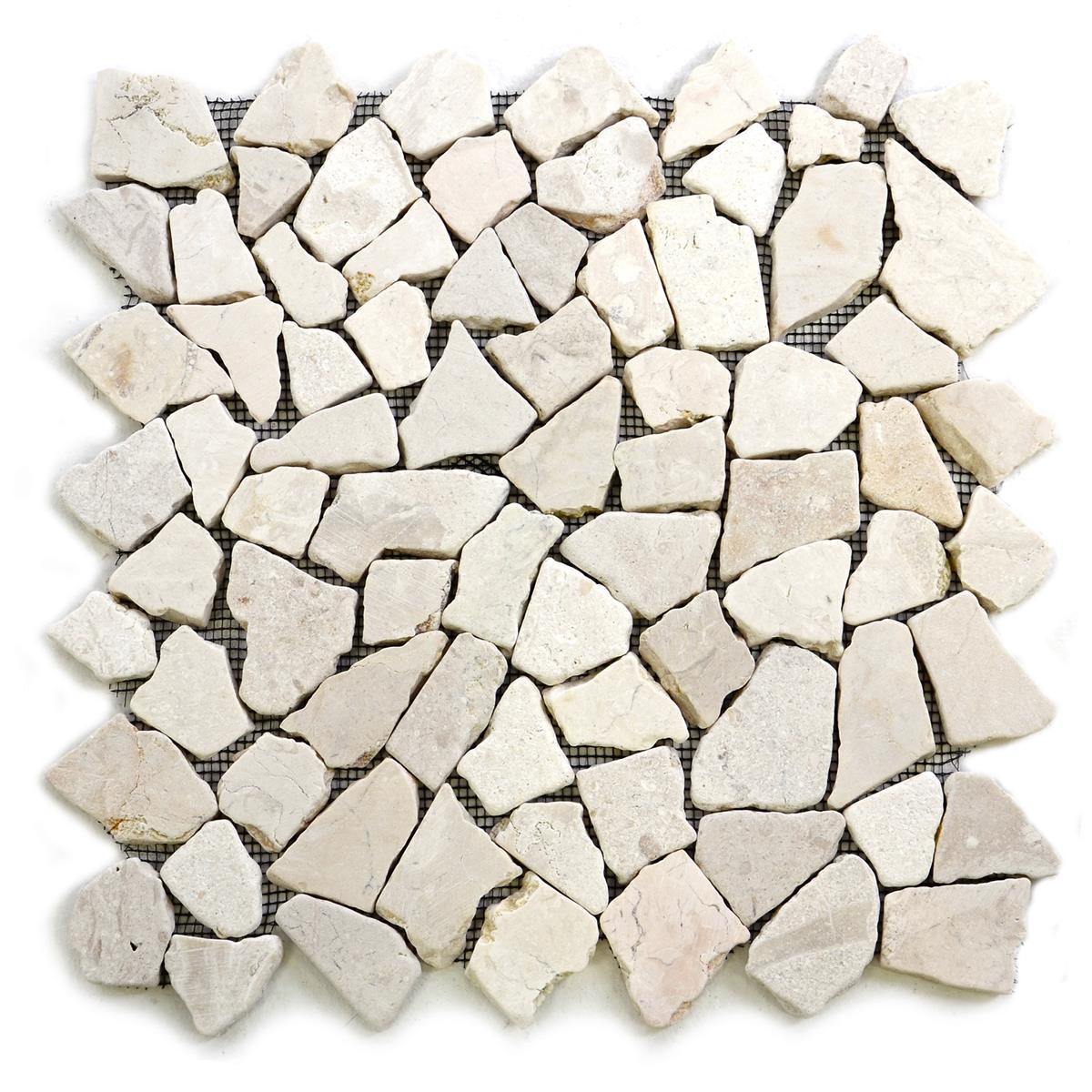 DIVERO 9 Fliesenmatten Marmor Bruchsteinmosaik cremeweiß á 35 x 35 cm