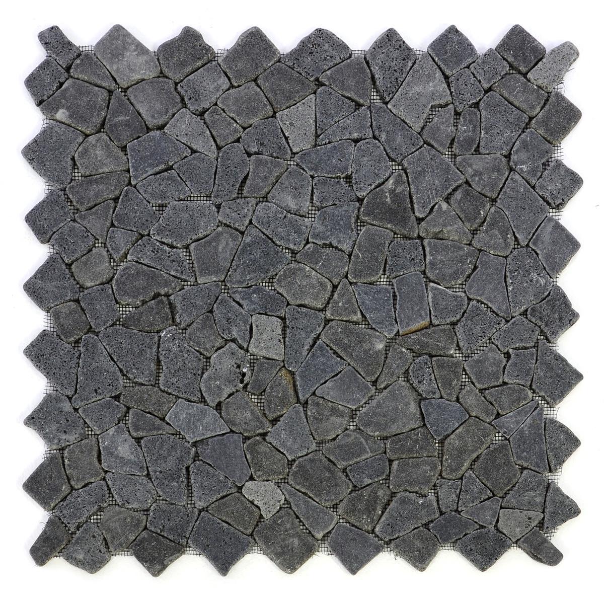 DIVERO 4 Fliesenmatten Naturstein Mosaik Andesit schwarz á 56 x 56 cm