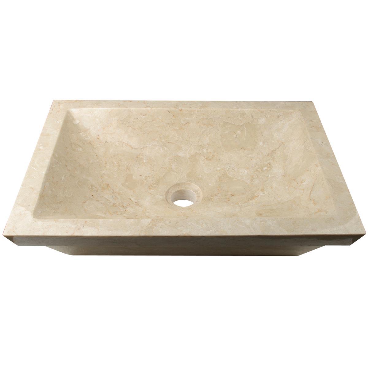 """DIVERO Aufsatzwaschbecken Waschschale """"Bergamo"""" Marmor creme 50x35cm"""