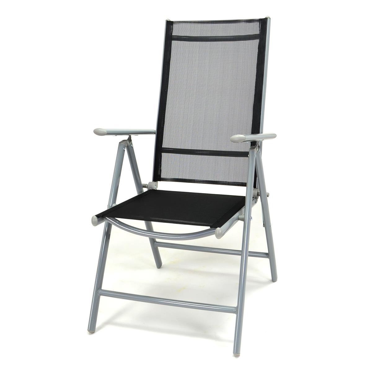 Klappstuhl Aluminium Komfortbreite Gartenstuhl Textilene schwarz Rahmen grau