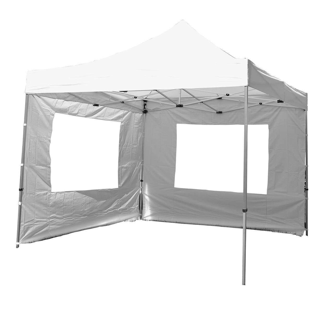 PROFI Falt Pavillon Partyzelt mit zwei Seitenteilen 3x3m weiß wasserdichtes Dach