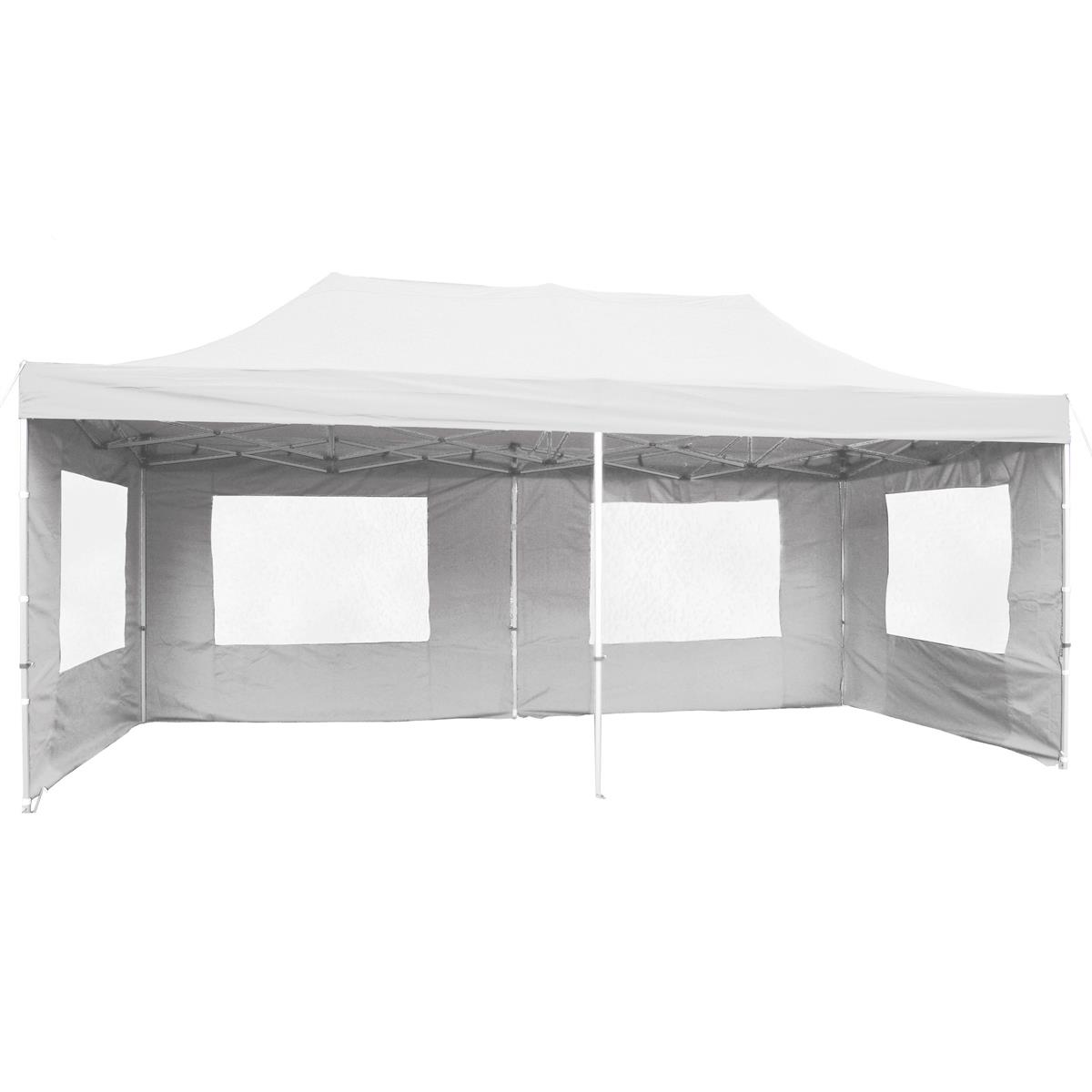 PROFI Faltpavillon Partyzelt 3x6 m weiß mit Seitenteilen wasserdichtes Dach