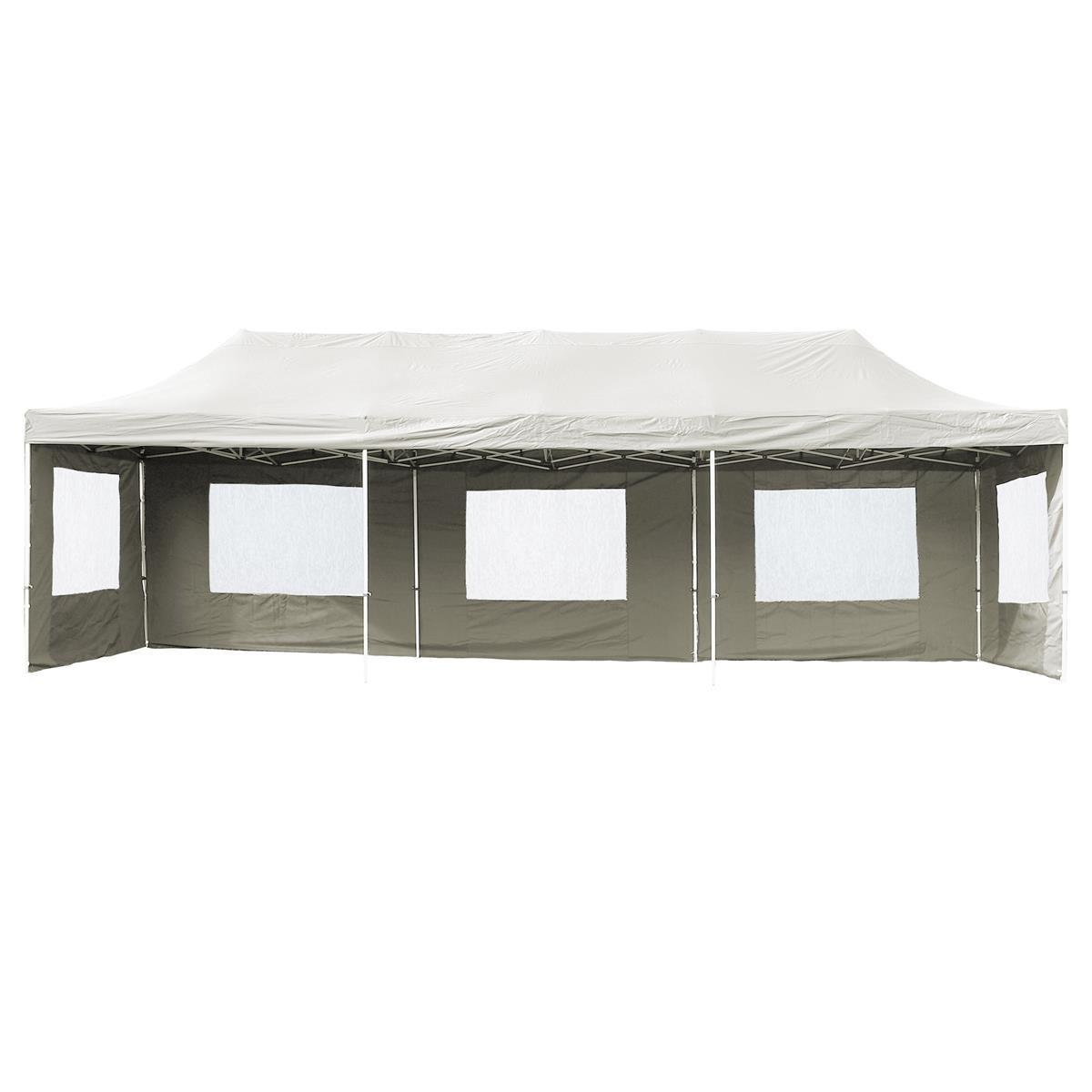 PROFI Faltpavillon Partyzelt 3x9 m weiß mit Seitenteilen wasserdichtes Dach