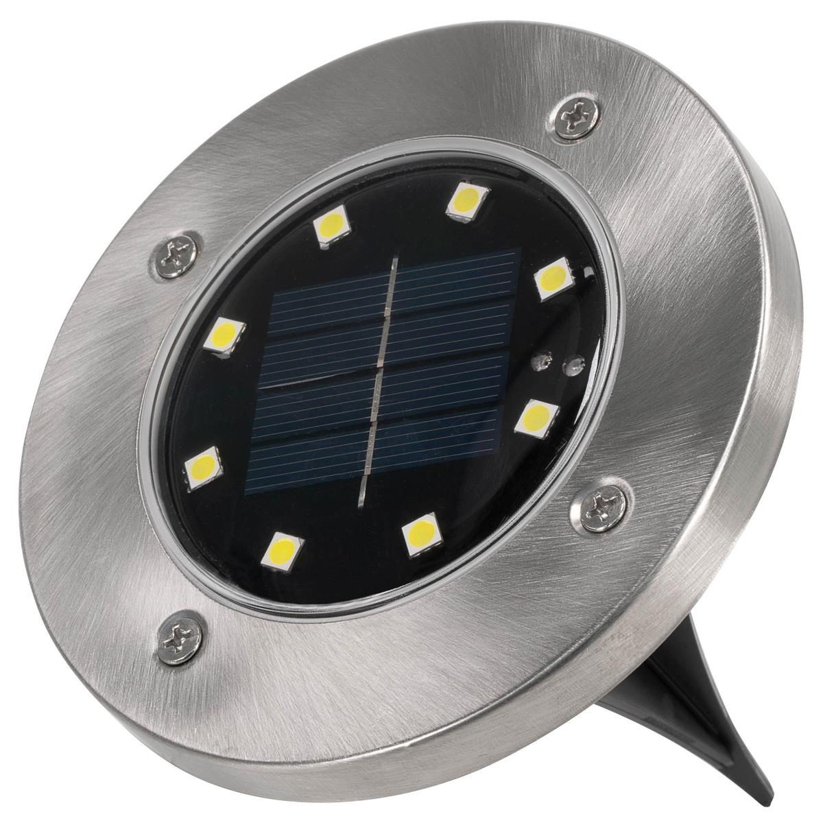 Bodenstrahler Solar Solarlampe Garten mit 3 LED aus Edelstahl