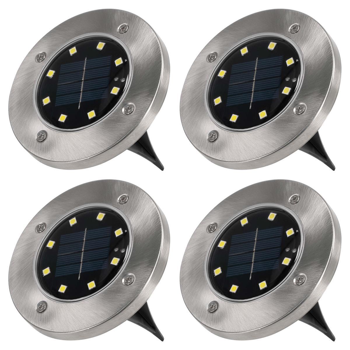 4er Set Bodenstrahler Solar Solarlampe Garten mit 3 LED Edelstahl