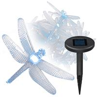 Lichterkette 24 LED Libellen Solar Pavillonbeleuchtung Schirm weiß Außen Garten