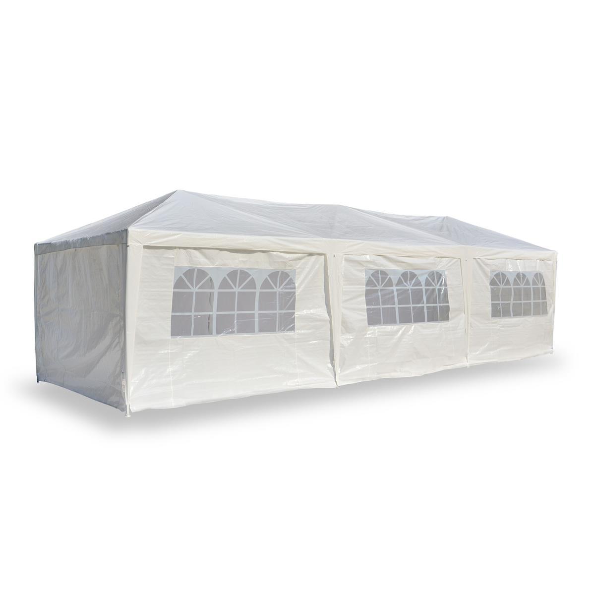 Pavillon Partyzelt weiß 3x9m PE 110g/m² Gartenzelt Festzelt Eventzelt Marktzelt