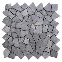 DIVERO 9 Fliesenmatten Mosaik Marmor Naturstein Wand Boden grau á 35x35cm