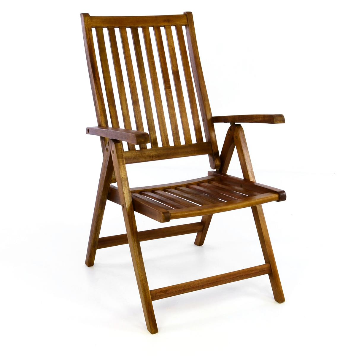 DIVERO Gartenstuhl Hochlehner Klappstuhl Stuhl Akazie Holz behandelt