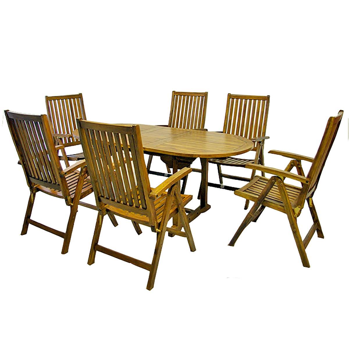 DIVERO Set Gartenmöbel Sitzgruppe Tisch ausziehbar 6 Stühle Akazie behandelt