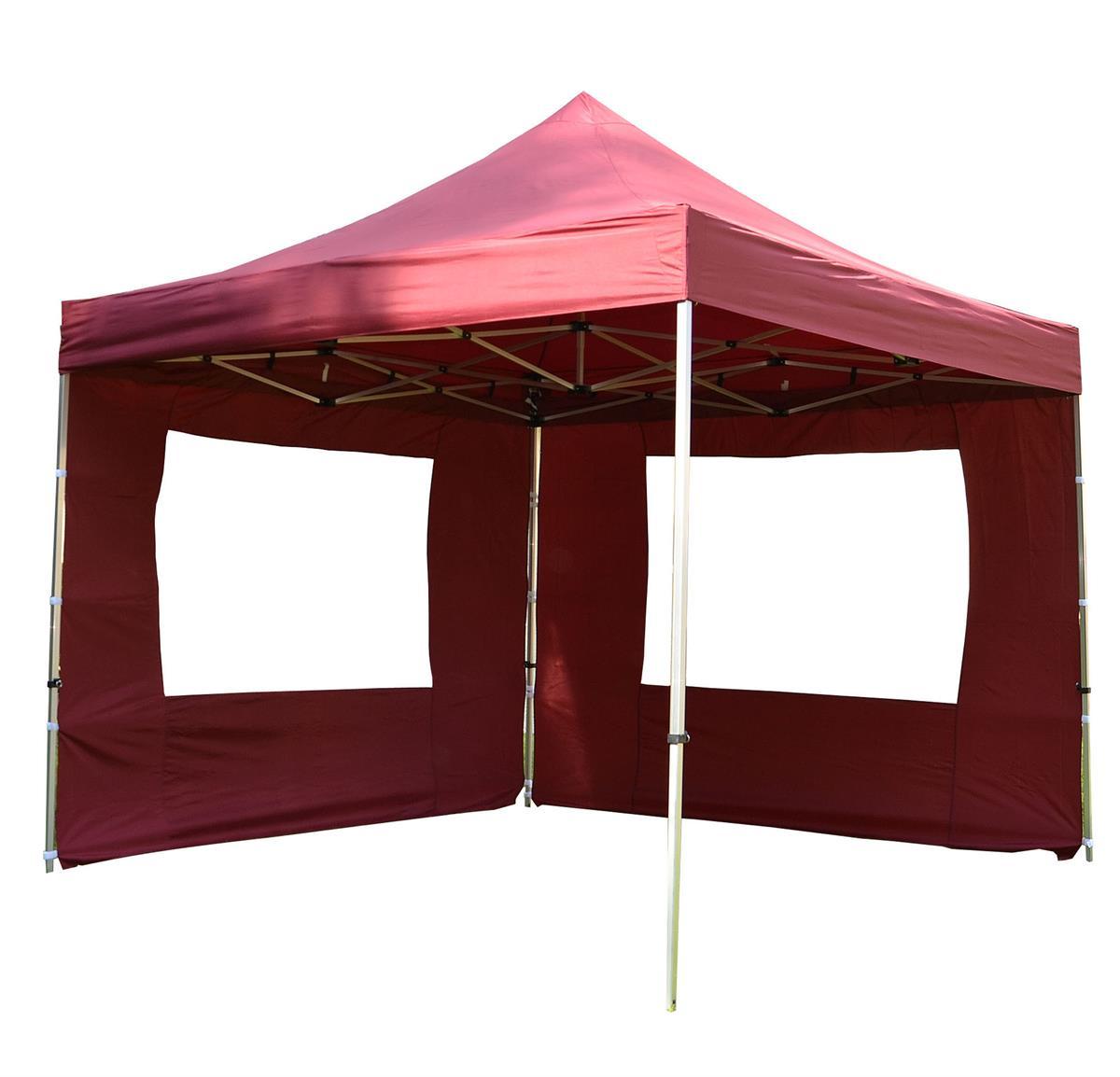 PROFI Falt Pavillon 2 Seitenteile 3x3m burgund rot Dach wasserdicht 270 g/m²
