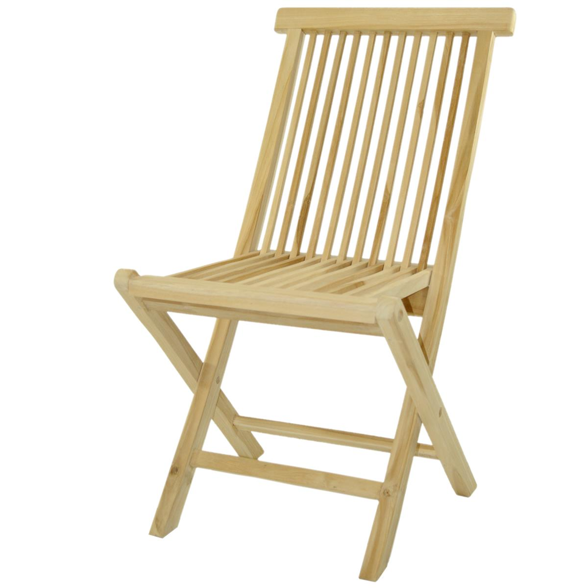 DIVERO Stuhl Teak Holz klappbar Holzstuhl Klappstuhl Gartenstuhl unbehandelt