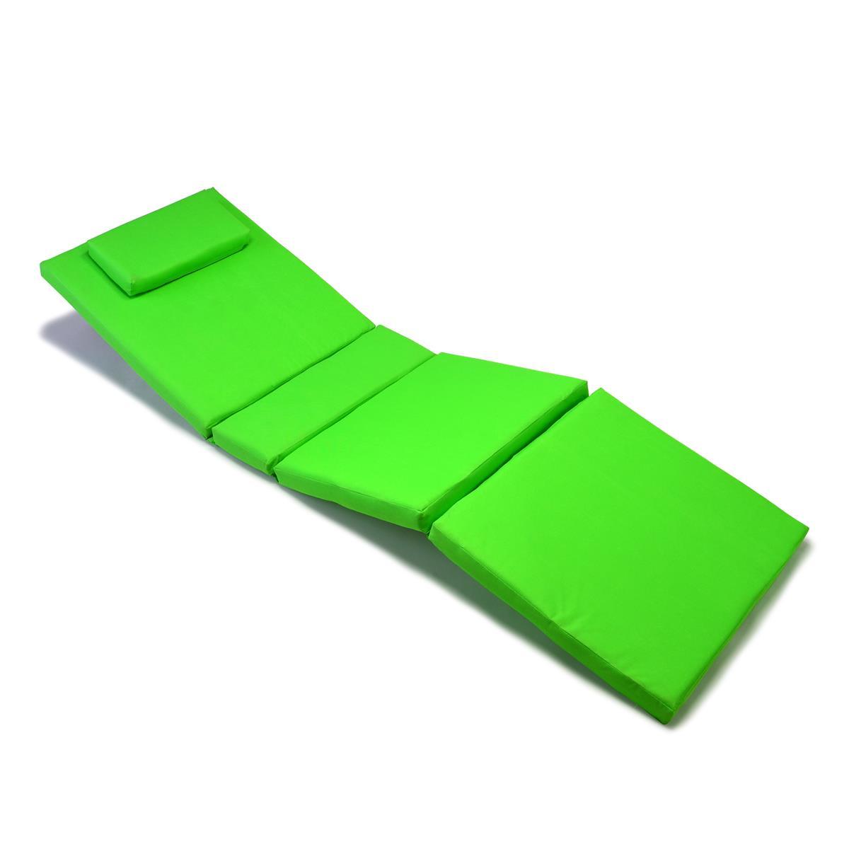 DIVERO Liegenauflage Polster für Gartenliege 4 Segmente Kopfkissen hellgrün