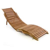 DIVERO Strandliege faltbar Sonnenliege Gartenliege Liege Teak Holz Faltliege