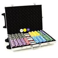 Luxus-Trolley-Pokerkoffer silber mit 1000 Laser Pokerchips und viel Zubehör