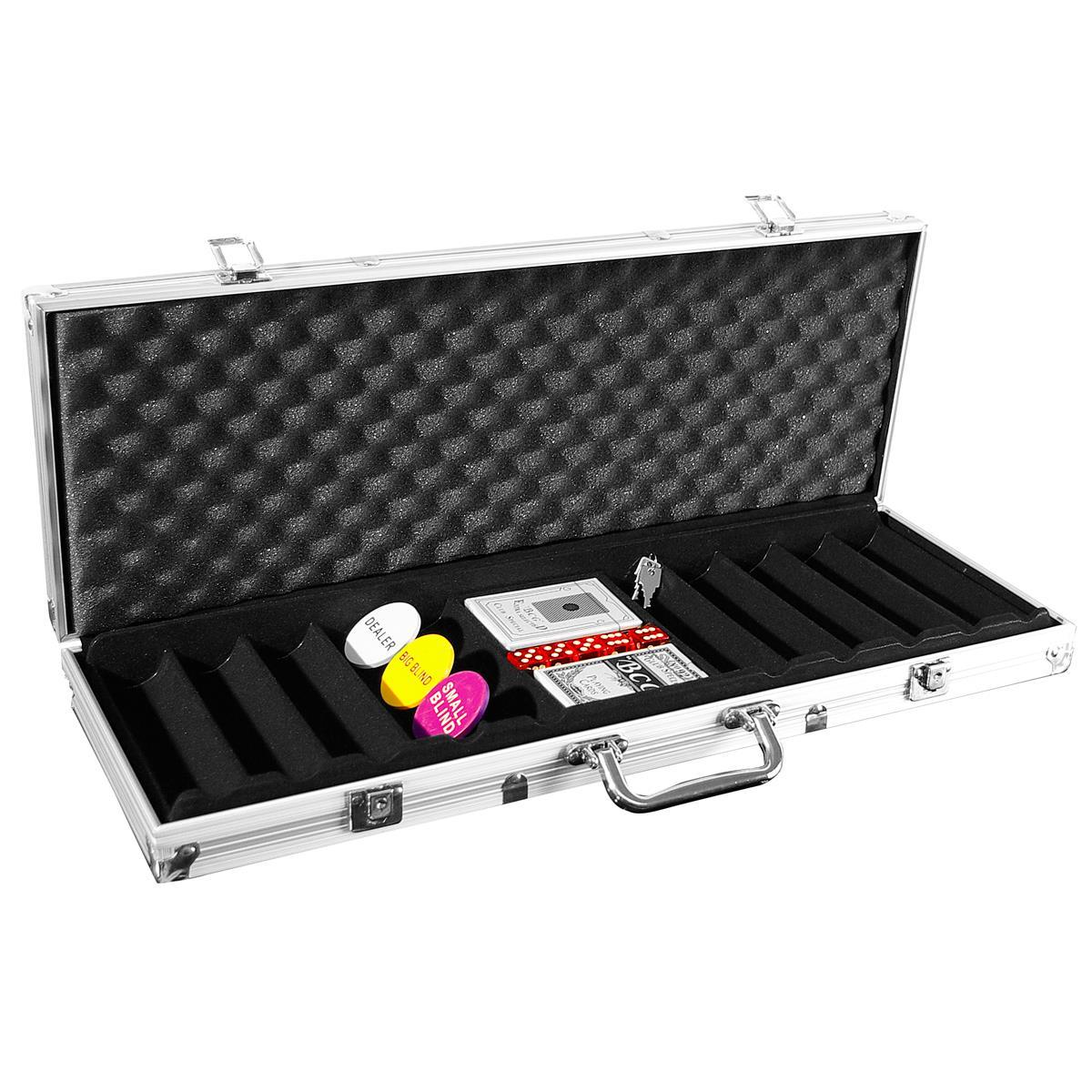 Pokerkoffer für 500 Poker Chips Poker Set mit Zubehör Pokerkarten Würfel Buttons