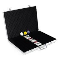 Pokerkoffer für 1000 Poker Chips mit Zubehör Pokerkarten Würfel Buttons