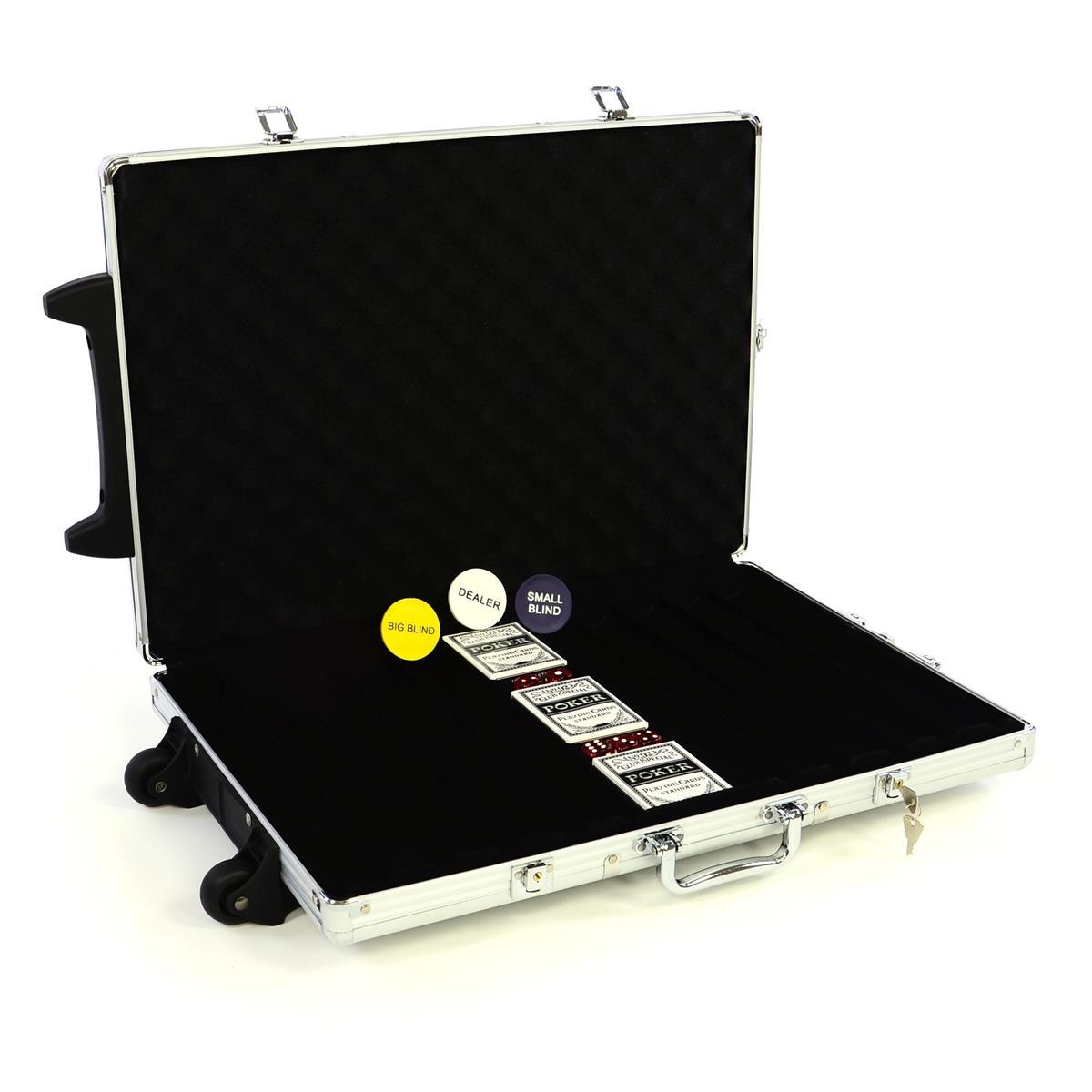 Poker-Koffer Trolley für 1000 Chips mit Zubehör Karten, Buttons, Würfel