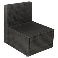 Sessel-Element Poly Rattan ohne Armlehne schwarz Relax-Sessel Gartensessel