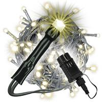 100 LED Lichterkette warmweiß grünes Kabel Innen Außen Trafo Timer Xmas