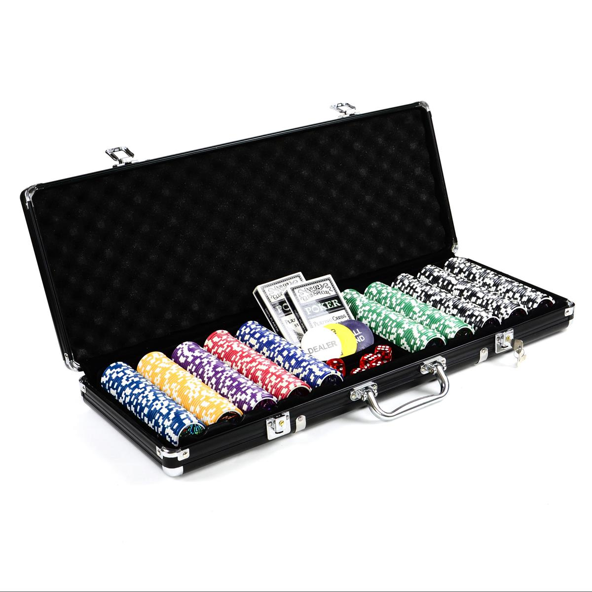 Pokerkoffer 500 OCEAN CHAMPION CHIP abgerundete Laser-Poker-Chips BLACK EDITION