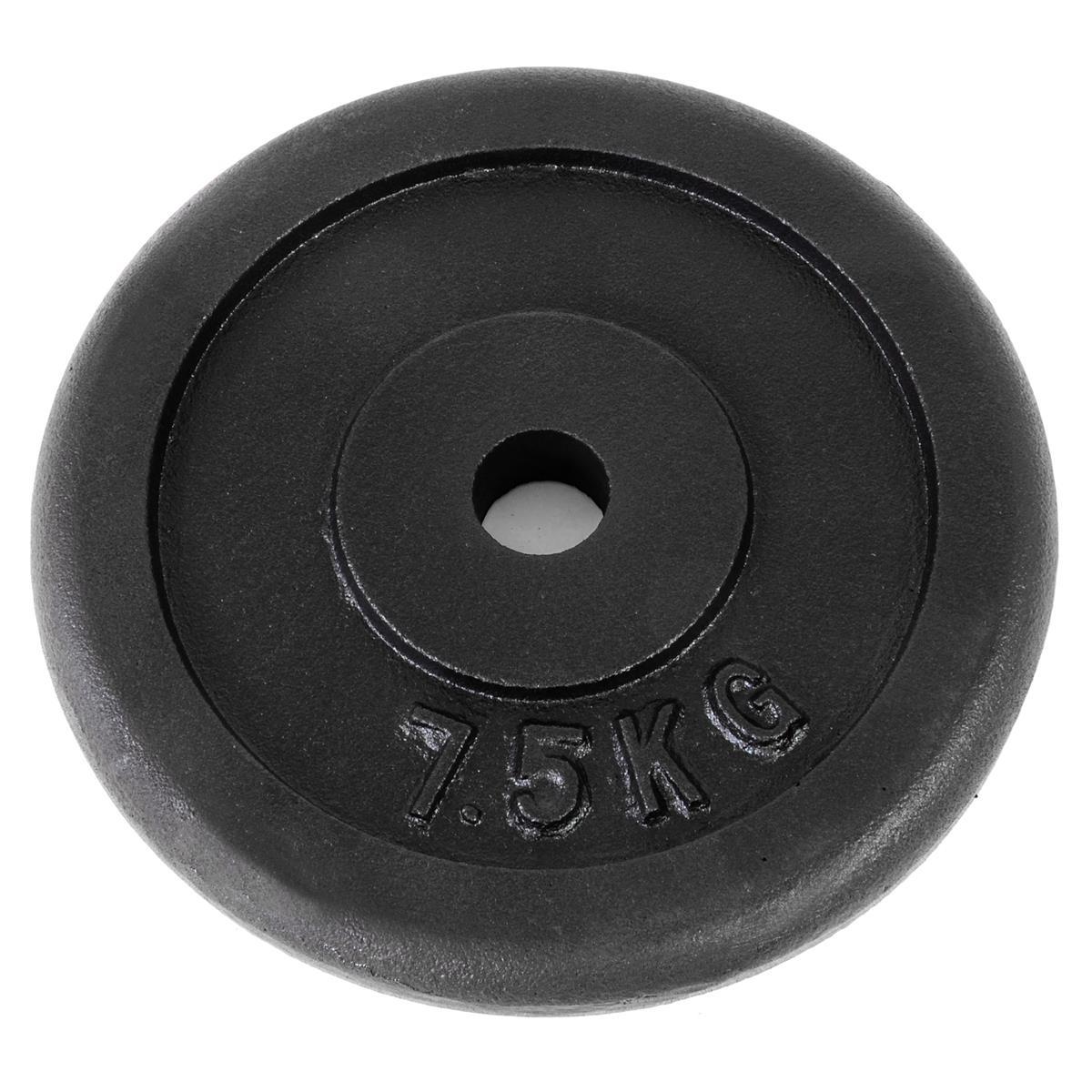 Hantelscheibe  7,5 Kg Ø 30/31 mm Bohrung 100% Gusseisen Schwarz
