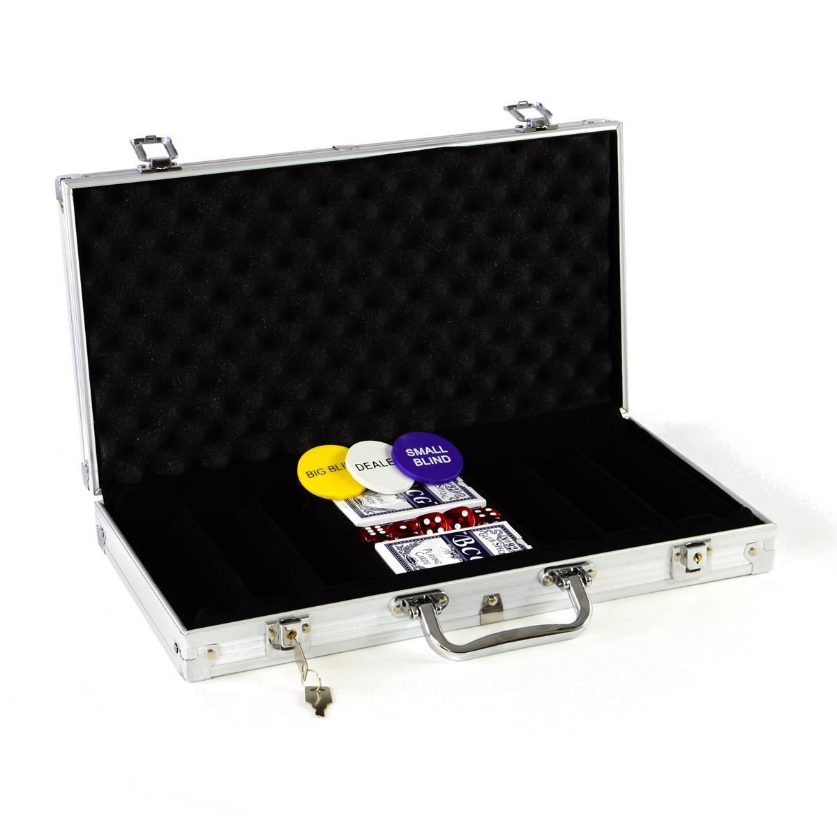 Pokerkoffer für 300 Poker Chips Poker Set mit Zubehör Pokerkarten Würfel Buttons