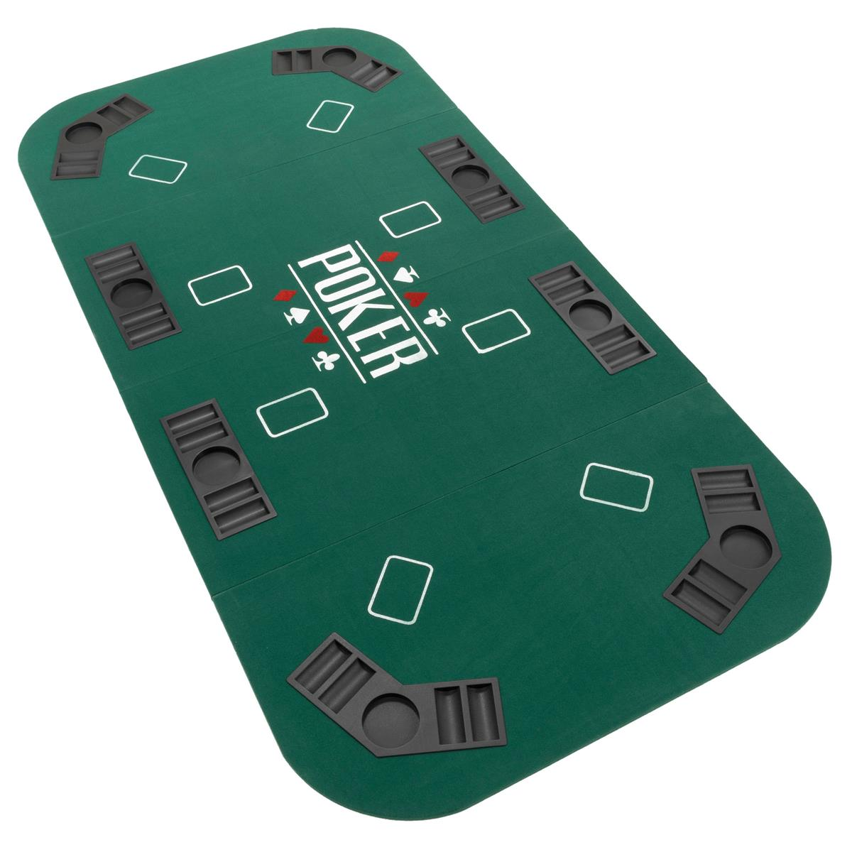 Pokerauflage faltbare Poker-Tischauflage 180 x 90 cm Chiptray und Getränkehalter