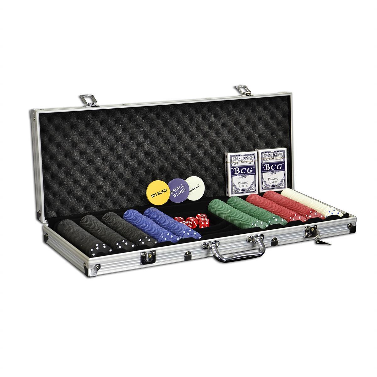 Pokerkoffer 500 Pokerchips Pokerset mit einfarbigen Standard Chips im Alukoffer
