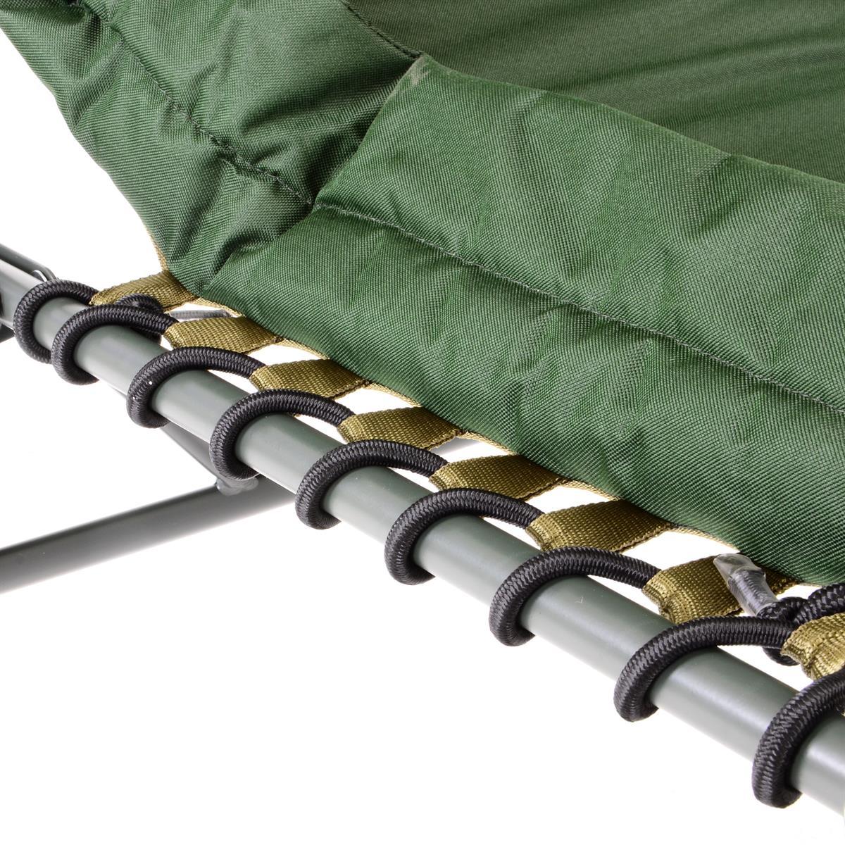 DIVERO Profi Karpfenliege Campingliege mit 6 Schlammfüßen Angelliege Liege grün
