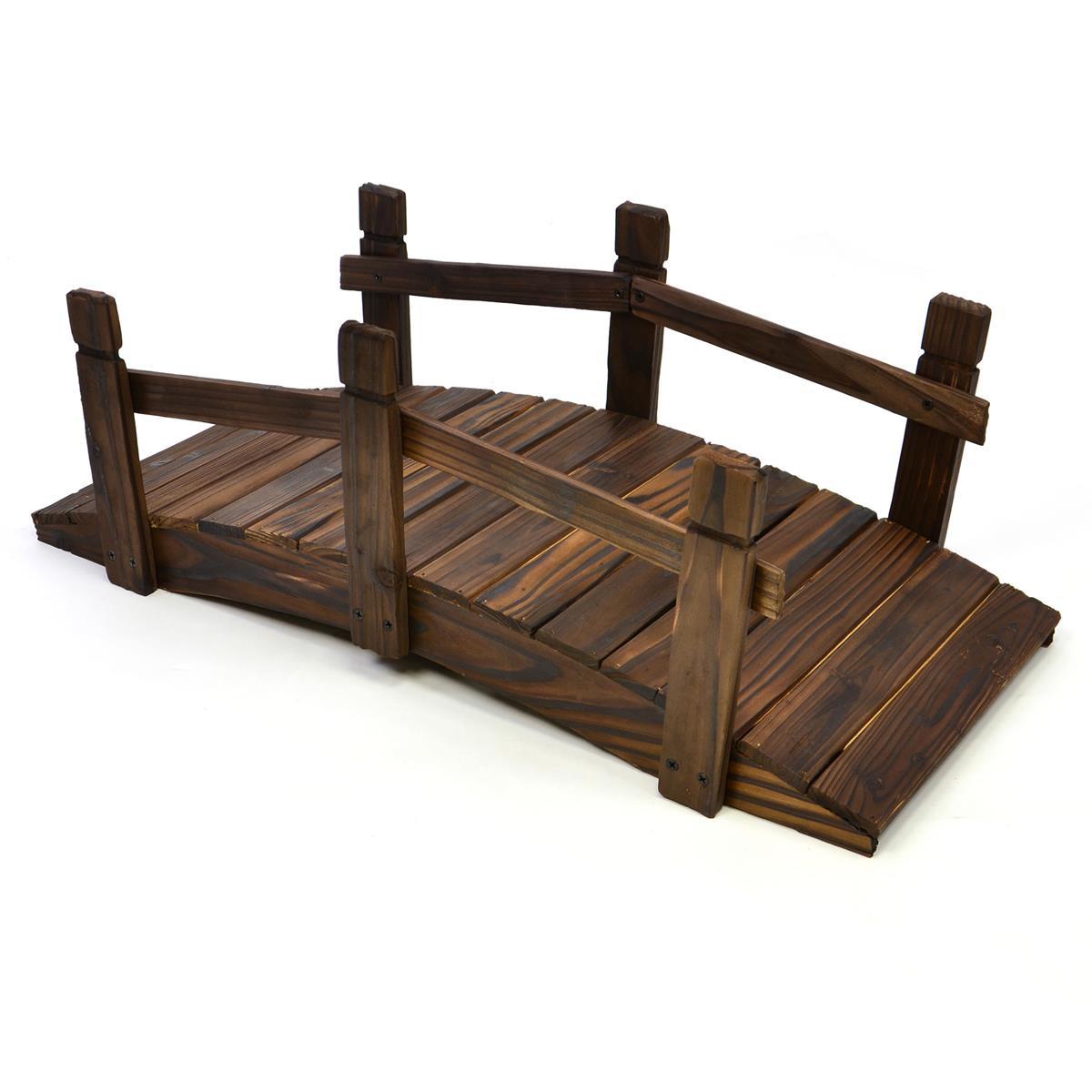 kleine Holzbrücke Teichbrücke mit Geländer braun 70x32x25 cm Gartenbrücke Steg