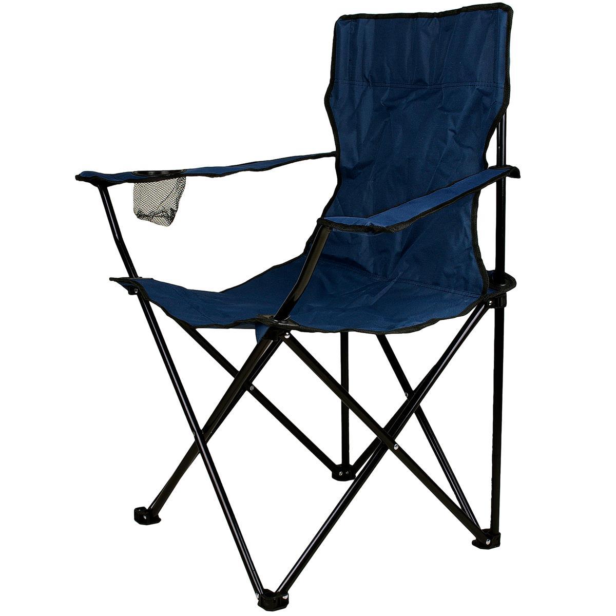 Faltstuhl Campingstuhl mit Armlehne Getränkehalter blau faltbar