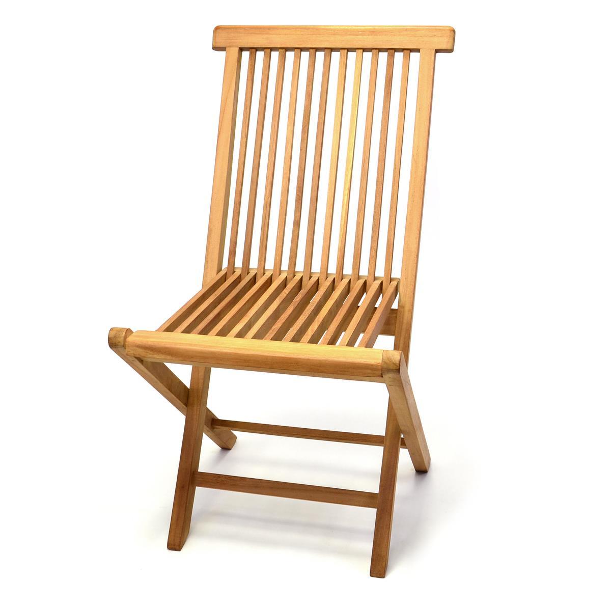 DIVERO Gartenstuhl Teak Holz klappbar massiv Holzstuhl Balkonstuhl behandelt