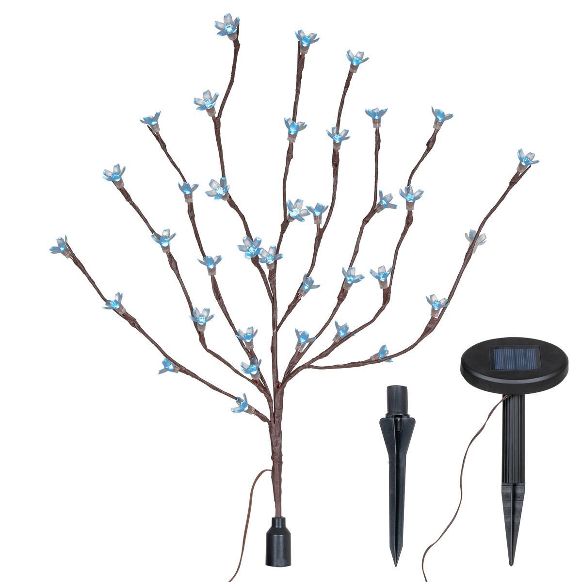 Solar 36 LED Lichterzweig kalt weiß Zweig mit Blüten Strauß Blinkfunktion