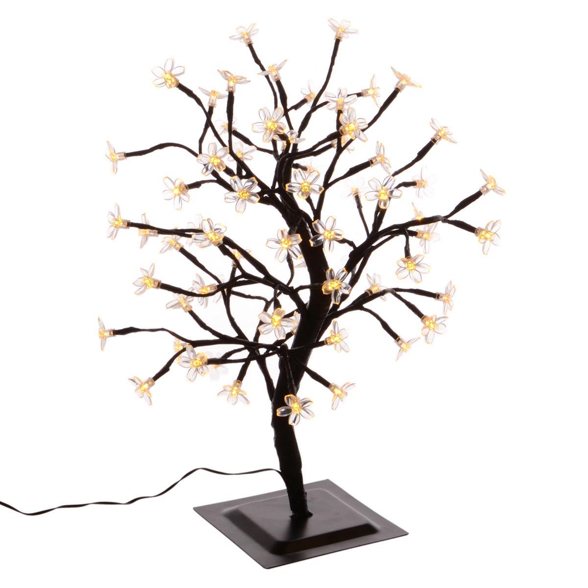 64 LED Lichterzweig Blütenbaum warm weiß 45 cm Trafo Timer Lichterkette Xmas