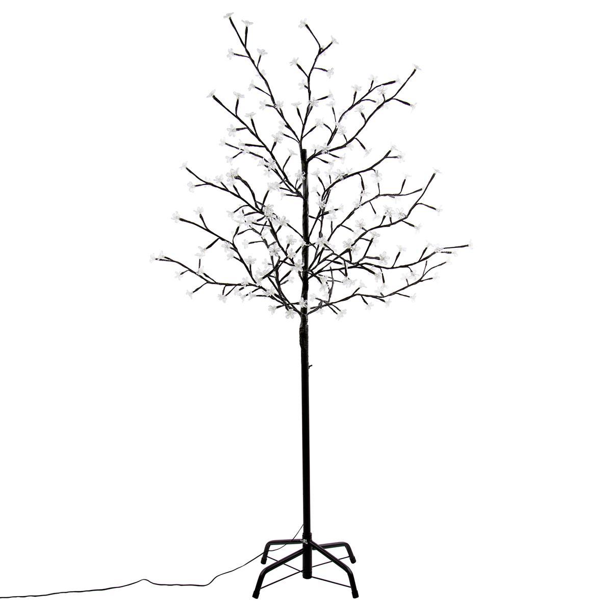 200 LED Baum Lichterzweig mit Blüten kalt weiß Lichterkette 150 cm Blütenbaum Ti