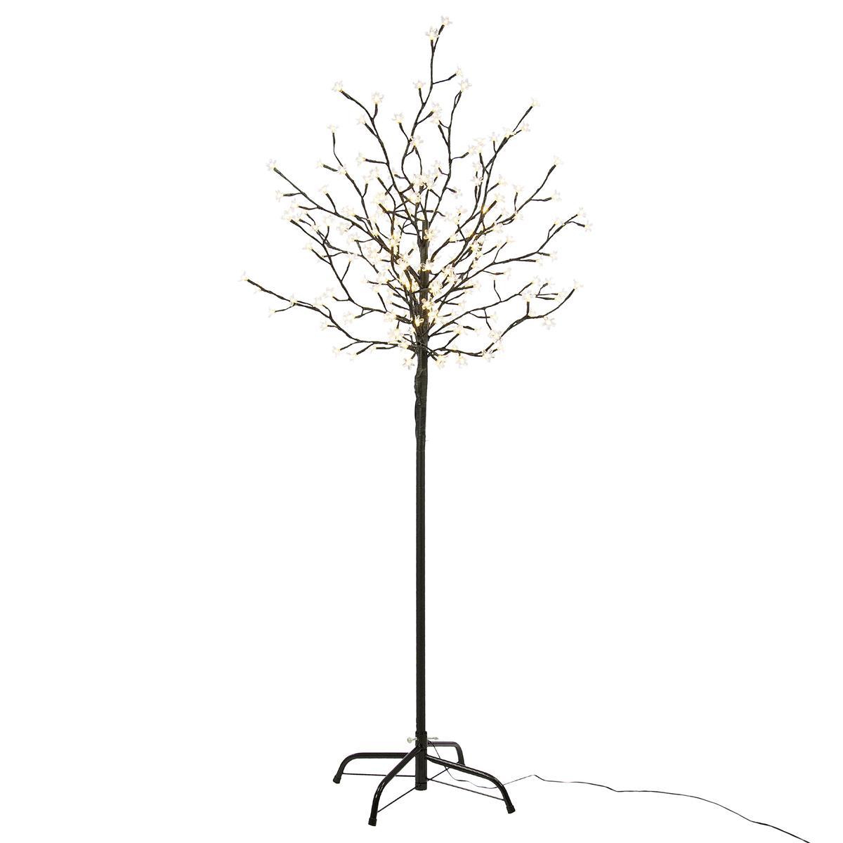 200 LED Baum mit Blüten Lichterzweig warmweiß Blütenbaum 150 cm Timer Xmas