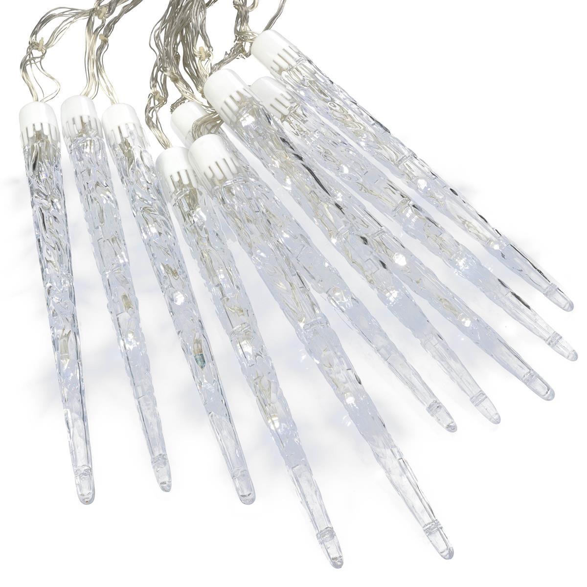 40 LED 10 Zapfen Eiszapfenkette weiß mit 8 Funktionen Trafo transparentes Kabel