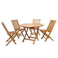 DIVERO Set Gartenmöbel Sitzgruppe Teakholz behandelt Tisch achteckig Ø 90