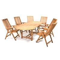 DIVERO Set Gartenmöbel Sitzgarnitur Esstisch ausziehbar Armlehne Teakholz
