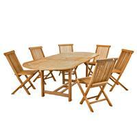 DIVERO Set Gartenmöbel Sitzgruppe Esstisch ausziehbar 6 Stühle Teakholz